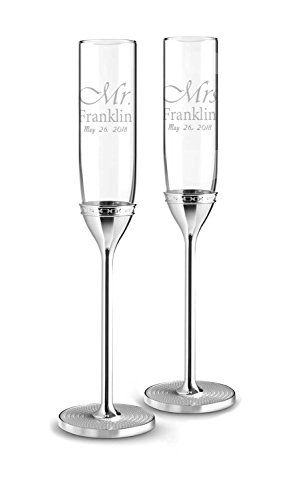 Wedgwood Vera Wang With Love Nouveau Set of 2, Custom Wedding Flutes, Personalized Champagne Glasses, Engraved Wedding Glasses