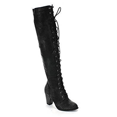 Forever Women's Knee-High Lace-Up Boot Black 7 ()