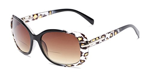 Readers.com Sun Reader: The Cassia Bifocal Reading Sunglasses Plastic Square Style for Women - Black Leopard with Amber, 2.50