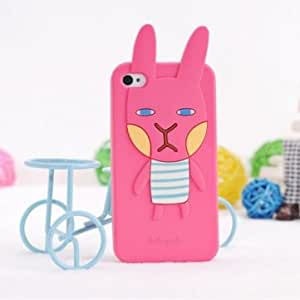 Cute Cartoon Rabbit Silicone Protective Case For iPhone 5 5G --- Color:Rose Red
