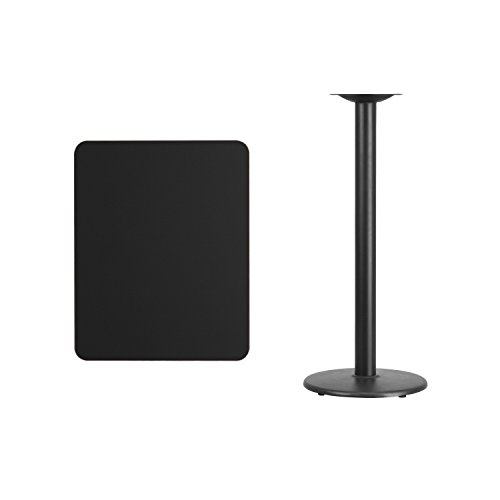 Flash Furniture 24'' x 30'' Rectangular Black Laminate Table Top with 18'' Round Bar Height Table Base by Flash Furniture