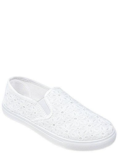 On Ladies Slip Broderie Chums Anglaise Shoe White Iq7xw