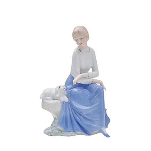 Sunny World Fine Ceramic Woman Porcelain Figurine Beauty Girls with Puppy, 11.8-inch Home Decorations