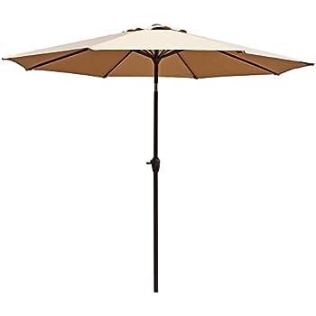 Le Papillon 9 Ft Outdoor Patio Umbrella Aluminum Table Market Umbrella  Crank Lift Push Button Tilt, Beige