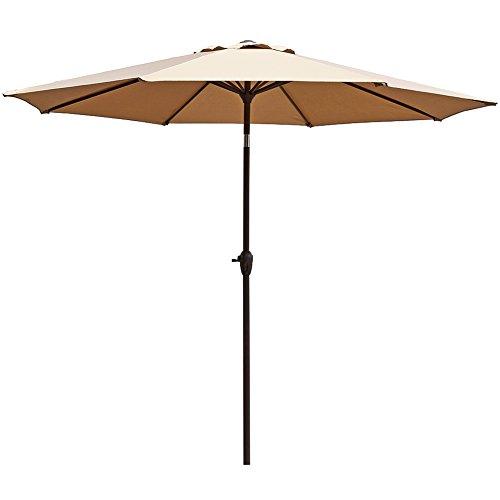 Le Papillon 9 ft Outdoor Patio Umbrella Aluminum Table Market Umbrella Crank Lift Push Button Tilt, Beige (Large Deck Umbrellas)