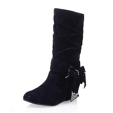 Botas de mujer invierno Comfort polipiel vestir casual talón plano Sparkl Rhinestone BowknotIng Glitter Rojo Amarillo Negro gris Black