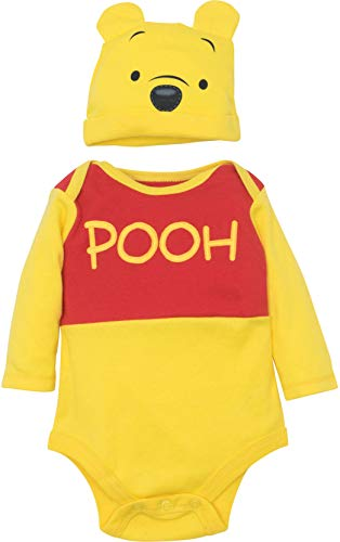 Disney Winnie The Pooh Baby Boys' Costume Bodysuit and Hat Set, Yellow (3-6 Months)]()