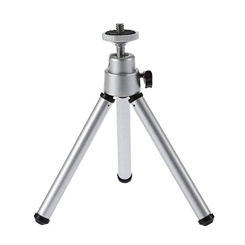Projector Stand, Queretek 6.3 Mini Universal Camera Tripod Stand Aluminum Adjustable Folding Projector Mount Stand Support 360 Degree Rotation for Smartphone Cell Phone ( Silver)