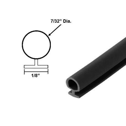 Black Bulb Type Weatherstripping for Door and Windows, 7/32'' Dia., 1/8'' Backing - 20 Ft. by Gordon Glass Co.