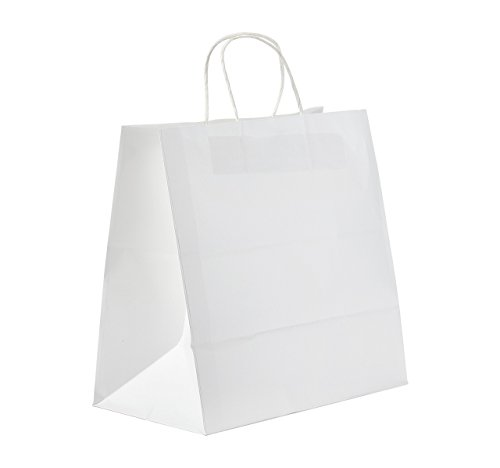 "PTP - 12"" x 7"" x 12"" White Kraft Paper Gift Tote Bags - 250 Count 