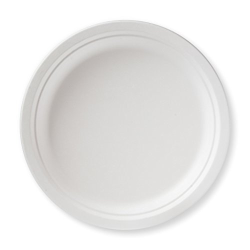 Susty Party Supplies BP-10-50CT 50 Count 100% Compostable Sugar Cane Heavy Duty Plate for Dinner, 10