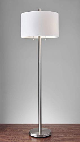 "Adesso 4067-22 Boulevard 61"" Floor Lamp, Satin Steel, Smart Outlet Compatible"