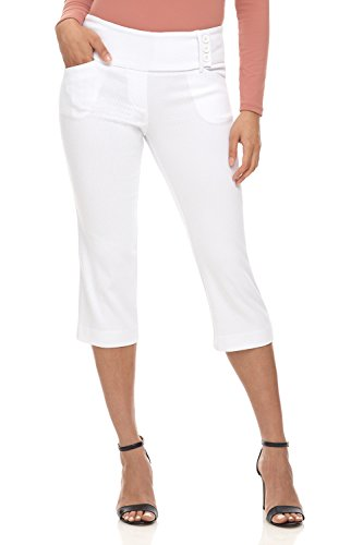 Eyelet Crop Pants - Rekucci Women's Ease into Comfort Wide Waist Capri with Back Lacing Detail (6,White Diamond Texture)