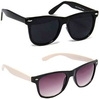 a92b37f6cf6 Image Unavailable. Image not available for. Colour  Sheomy Unisex Sunglasses  Combo Pack of White Side Fashion Wayfarer ...