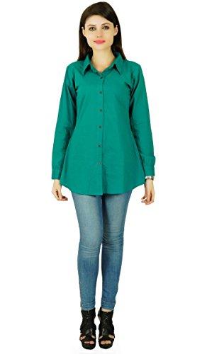 Con botones camisa de algodón de manga larga Teal Top blusa ocasional del desgaste de mujeres