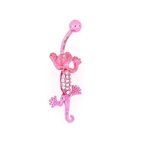 Arrow Jewelry Stainless Steel Crystal Lizard Belly Button Ring 014 Gauge with Pink IP-Plated Jeweled Dangling