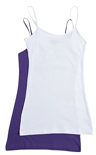 2 Pack Zenana Women's Basic Tank Tops Med White, Purple