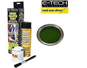 E-Tech Brake Caliper Paint - BRITISH RACING GREEN - Complete Kit Inc Paint/Cleaner & Bru
