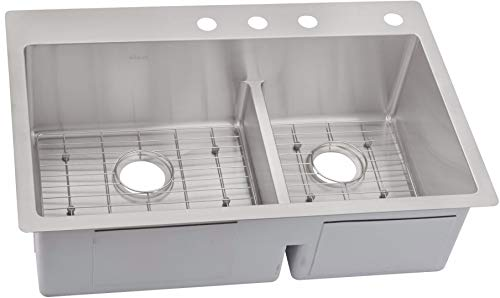 "Elkay ECTSRAO33229BG4 Crosstown 33"" x 22"" Double Basin Stainless Steel Kitchen Sink with Aqua Divide plus Sink Grids"