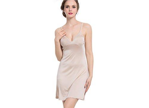Funme Women Sexy Sleepwear Natural Silk Slip Chemise Nightgown L ()