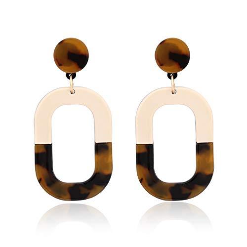 (YOUMI Acrylic Mottled Resin Earrings Fashion Geometric Dangle Drop Earrings Women Statement Jewelry. (Tortoise with Beige Oval))