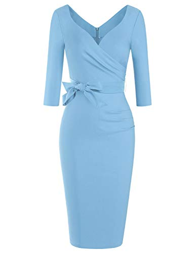 MUXXN Light Blue Retro Wedding Dresses 3/4 Sleeves Ruched Bridesmaid 50s Dress for Women (Airy Blue XL)