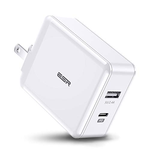 USB C Charger, ESR 2-Port 30W Wall Charger, with 18W Power Delivery Type C and 12W USB Ports, Foldable Plug, for iPad Pro 2018, iPhone XS/XS Max/XR/X/8, Samsung S10/S10+/S10e/S9, Pixel 3/3a, and More (Anker 40w 4 Port Usb Wall Charger)
