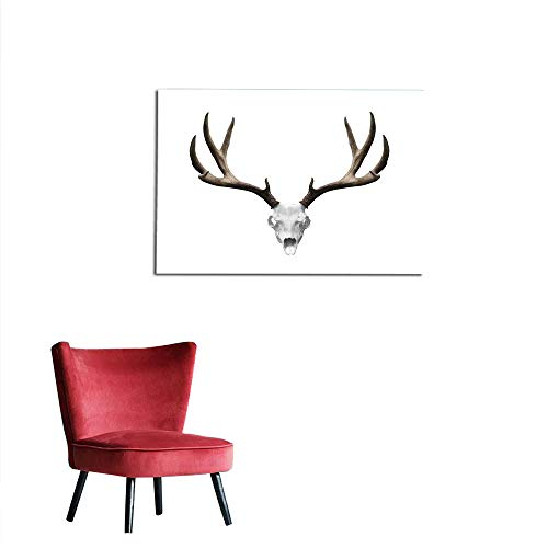 Wall Sticker Decals Antlers Decor,A Deer Skull Skeleton Head Bone Halloween Weathered Hunter Collection The Office Poster W31.5 x L23.6
