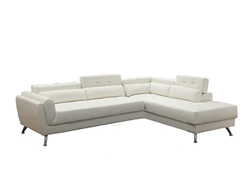 White Contemporary Couch - Poundex Bobkona Jolie Bonded Leather 2Piece SECTIONAL in White