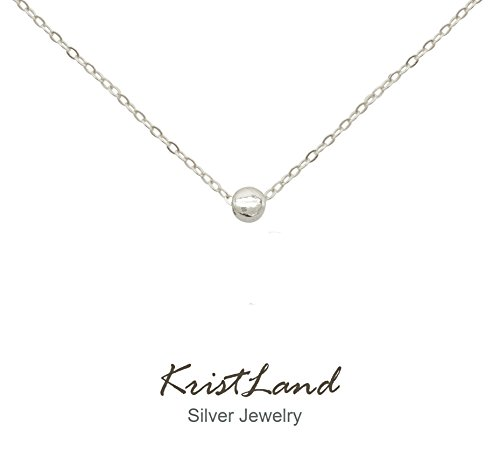KristLand - 925 Silver Adjustble Necklace Simple Design Circle Form Heart Pendant Delicate Chocker Bean Silver (Silver Circle Necklace)