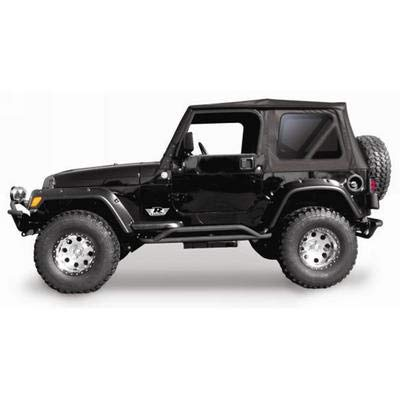 Soft Top Hardware (RAMPAGE PRODUCTS 68835 Complete Soft Top with Frame & Hardware for 1997-2006 Jeep Wrangler TJ, with Full Steel Doors (no soft upper doors), Black Diamond w/Tinted Windows)