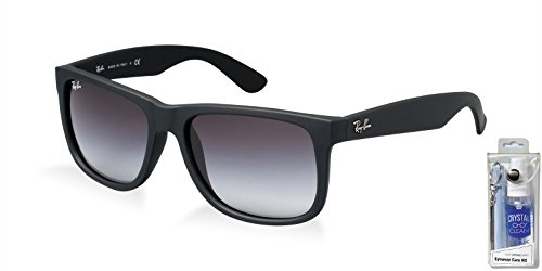 Ray Ban RB4165 601/8G 55mm Rubber Black Justin Sunglasses Bundle - 2 - 601 Rb4165 8g 55
