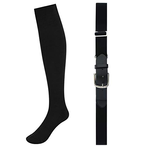 Skedee Baseball Belt & Socks Combo Set, Softball Football Soccer Socks Baseball Belt Combo Set for Adult(Black)