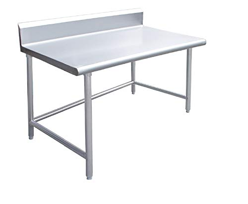 Backsplash Open Base Work Table - KPS Commercial Stainless Steel Work Prep Table 24 x 48 with Crossbar Open Base and 4