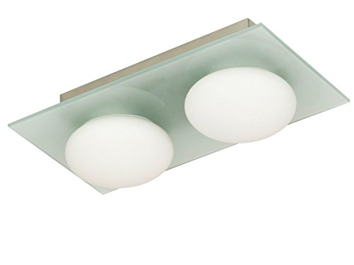 Ranex Badkamerplafondlamp mat glas, IP44, warm wit incl. 2x40W LM
