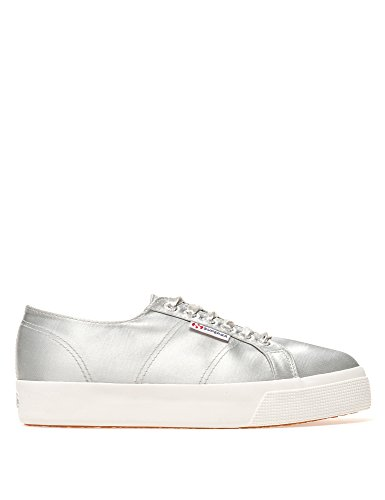 Superga Women 2730-Satinw Sneakers in Silver in Size US 8