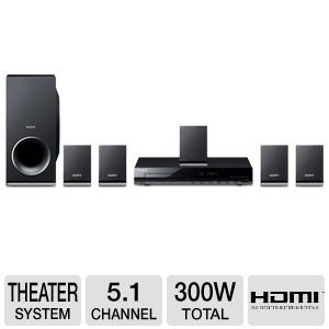 sony home theater sound system. sony 300 watts 5.1 channel dvd home theater surround sound entertainment system with player, -