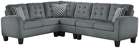 Homelegance Sinclair 84 x 107 Fabric Sectional Sofa, Gray