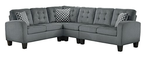 "Homelegance Sinclair 84"" x 107"" Fabric Sectional Sofa, Gray from Homelegance"