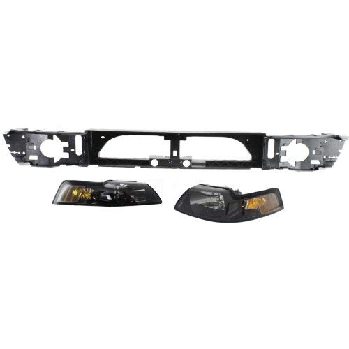 - Header Panel Kit Compatible with 1999-2004 Ford Mustang Headlight Header Panel