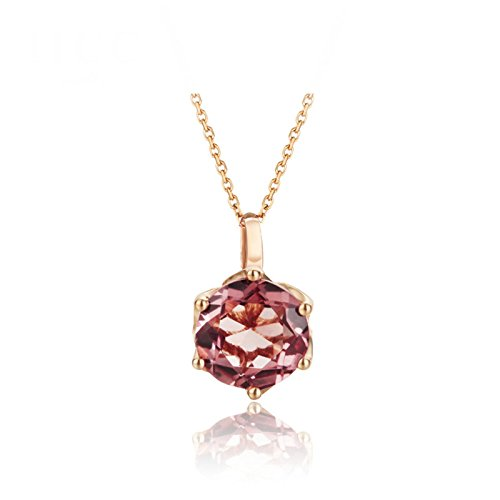 Daesar 18K Gold Necklace For Women Six Prong Gemstone Round Tourmaline Pink Necklace Chain Length: 40CM by Daesar