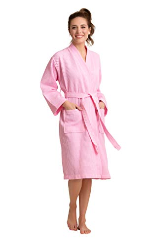 Luxurious Soft Absorbent Lightweight Long Kimono Waffle Spa Bathrobe for Women (Large, Pink) ()