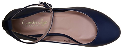 Cambridge Select Womens Ankle Strappy Buckle Round Closed Toe Wrapped Wedge Navy Pu bcJSSs1Jxl