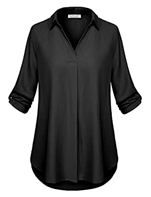 BaiShengGT Women's Solid Plaid Tunic Shirts Half Roll Sleeve Notch Neck Tunic Top