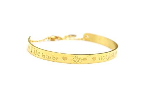 BC2103D - Bracelet Demi Jonc et Chaîne Acier Doré avec Message Life is to be Enjoyed not just Endured