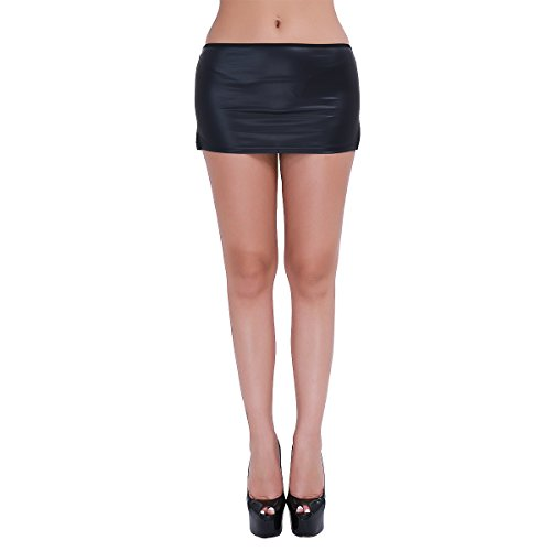 MSemis Women's Sexy Leather Wetlook Micro Mini Skirt with G-String T-Back Clubwear Black Medium - Thong Skirt Mini Micro