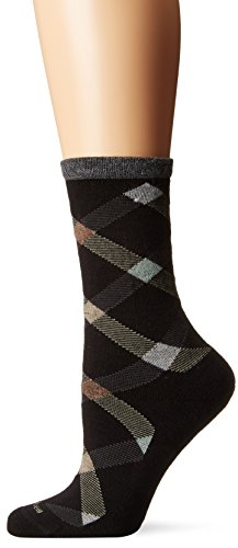 Goodhew Women's Macro Plaid Socks, Black, Small/Medium
