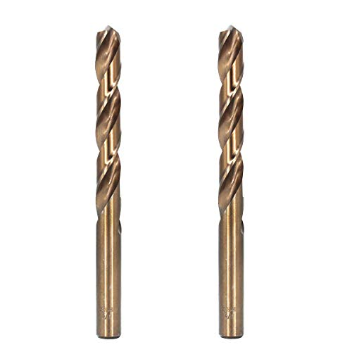 Migiwata 1/2 Inch Fractional Size M35 Cobalt Steel Twist Drill Bit Set of 2pcs - Jobber Length and Straight Shank - Extremely Heat Resistant - Perfect for Drilling in Stainless Steel and Cast Iron