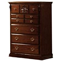 Furniture of America Scarlette Classic 5-Drawer Chest, Glossy Dark Pine