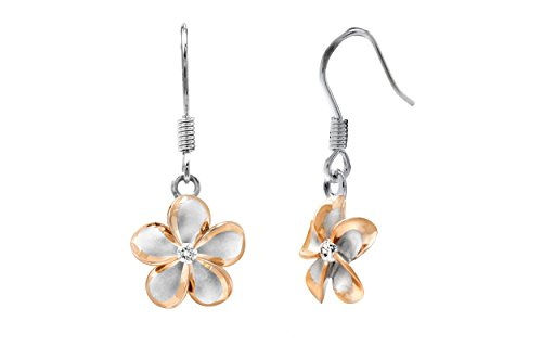 Sterling Silver with 14k Rose Gold Plated Trim CZ Plumeria Hook Earrings, 12mm